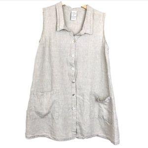 Vintage Match Point A-Line Linen Beige/Tan Dress